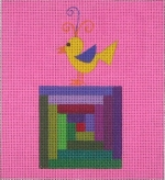 ZE 354 Little Chick on a Quilt Block