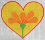 ZE 383 Heart w/ Orange Flower